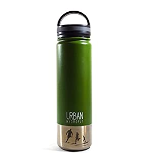 Urban Hydrofit 22 Ounce Stainless Steel Water Bottle Insulated Travel Mug Keeps Drinks Cold 24 Hours or Hot 18 Hours plus 2 Lids and Sack