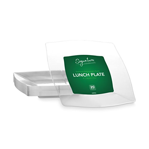 SIGNATURE PARTY DISPOSABLE CLEAR PLASTIC PLATES   8 Inch Square Wedding Appetizer Plates, 20 Ct   Elegant & Fancy Heavy Duty Hard Party Supplies Plates for all Holidays & Occasions