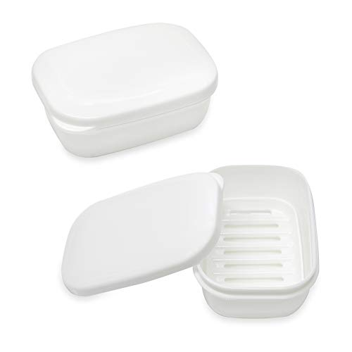 - TANCANO Soap Box Soap Holder for Traveling, Rectangular Soap Dish, Bathroom Soap Container, Waterproof Seal Portable Sponge Soap Case Tray with Drain for Shower Camping Gym, 2 Pack White