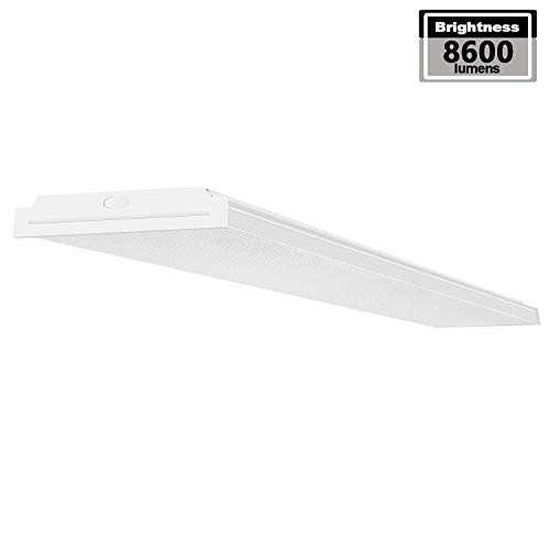 AntLux 72W LED Wraparound Light 4FT LED Office Lights Ceiling, 8600 Lumens, 4000K Neutral White, 4 Foot Flush Mount Wrap Lighting Fixture for Garage Workshop Kitchen, Fluorescent Light Replacement