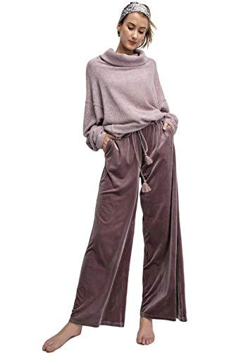 Easel Women's Wide Leg Velvet Palazzo Pants