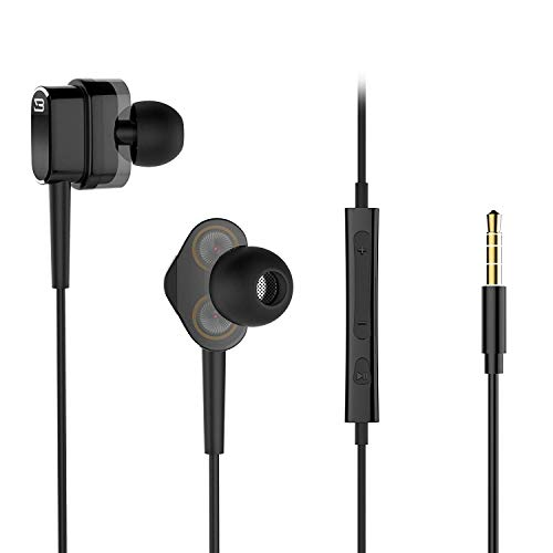 Wired Earphones, Dual Dynamic Drivers In-Ear Headphones with Volume Control and Mic, Hi-fi Earbuds Noise Isolating 3.5mm Jack, Black
