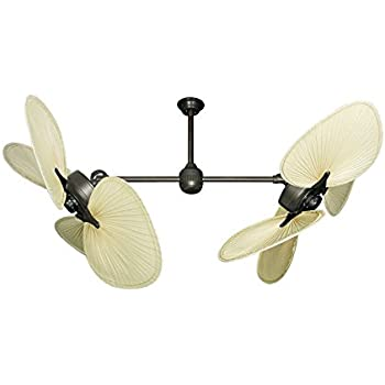 Twin star iii double ceiling fan in oil rubbed bronze with 54 twin star iii double ceiling fan in oil rubbed bronze with 54 natural palm blades mozeypictures Choice Image