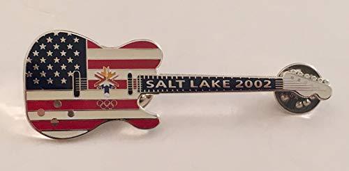 (2002 Salt Lake City Winter Olympics Red White & Blue Stars & Stripes Guitar Pin LE 5000)