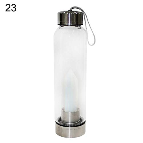 EIKdoulf02 550ml Portable Water Cup Quartz Crystal Water Bottle Healing Obelisk Glass Cup Drinkware – # 23