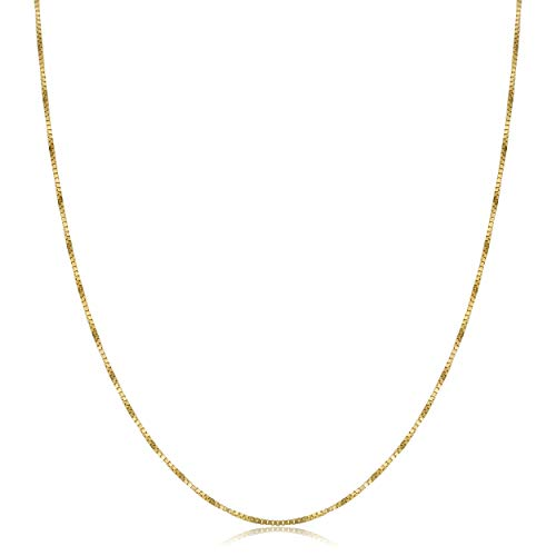 (Kooljewelry Solid 14k Yellow Gold Delicate Venetian Box Chain Necklace (0.7 mm, 20 inch))