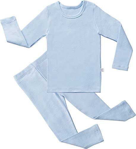 AVAUMA Baby Boys Girls Solid Pring Pj Set Kids Pajamas Long Sleeve Cotton (Sky Blue-1 JS)