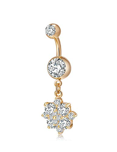 CEYIYA CZ Flower Belly Button Ring - Surgical Steel Dangle Navel Rings 18k Gold/White Gold Plated Ideal Gift for Women/Men/Girls,Sunflower Belly Piercing ()