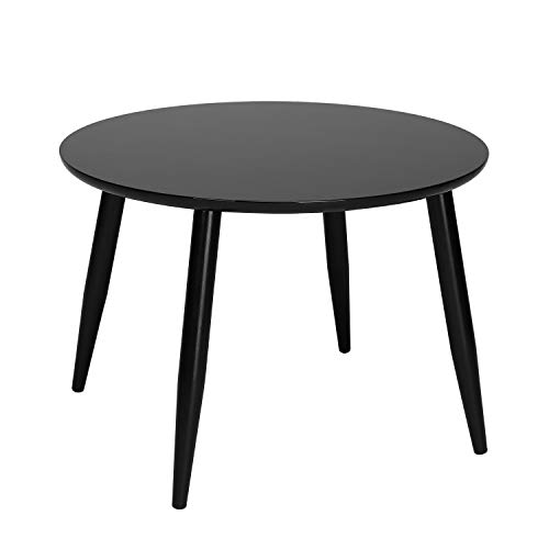(TaoHFE End Table Round Modern Furniture 4-Legs Coffee Side Table Home Office Black)