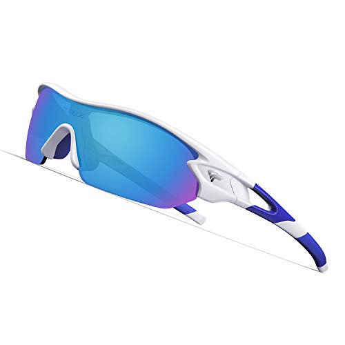 TOREGE Polarized Sports Sunglasses with 3 Interchangeable Lenes for Men Women Cycling Running Driving Fishing Golf Baseball Glasses TR02 (White&Blue&Blue Lens)