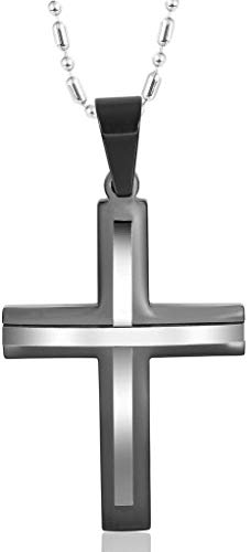 MoAndy Pendant Necklace with Stainless Steel Chain Stainless Steel Necklace Mens Pendant Necklace Cross Black
