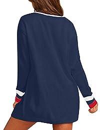 ACKKIA - Sudadera de manga larga con botones delanteros abiertos para mujer