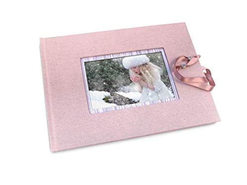 Libro de firmas rosa con marco para foto. Libro de firmas ...