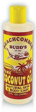 Value Pack Hawaiian Beachcomber Budd Pure Coconut Oil 8 oz. Unscented 4 Bottles