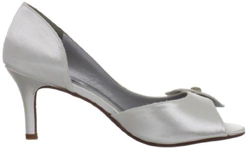 Dyeables Womens Tyra Peep-toe Pumpe White Satin