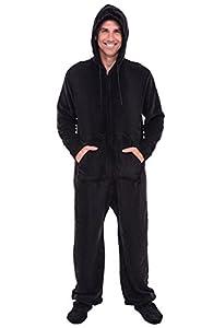Del Rossa Men's Fleece Onesie, Hooded Footed Jumpsuit Pajamas