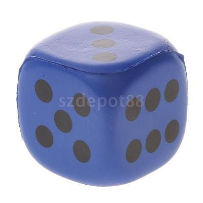 1pc Soft PU Sponge Six Sided Dice Toy Party Playing Board Game Aid 4cm Blue by uptogethertek