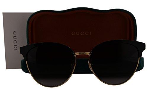 Gucci GG0074S Sunglasses Shiny Black Shiny Endura Gold w/Gray Gradient Lens 002 GG - Gucci Sunglasses Prescription