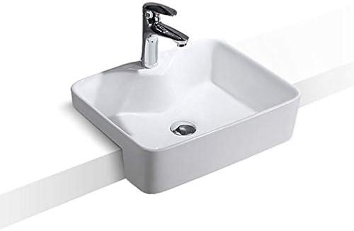 洗面ボール 浴室セラミック磁器容器シンクの上カウンターホワイトカウンターシンク 洗面器 (Color : White)