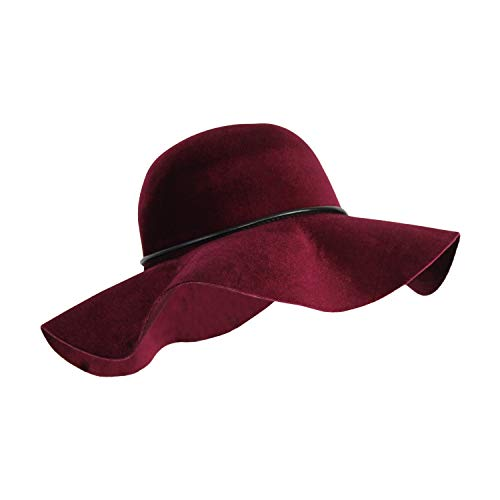 (100% Velvet Felt Large Floppy Hat Vintage Bowler Light-Weight Fall Winter Fedora with Wide Brim and Bow Trim)