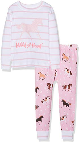 Hatley Girls' Little Organic Cotton Long Sleeve Appliqué Pajama Sets, Wild at Heart - Frolicking Horses 4 Years ()
