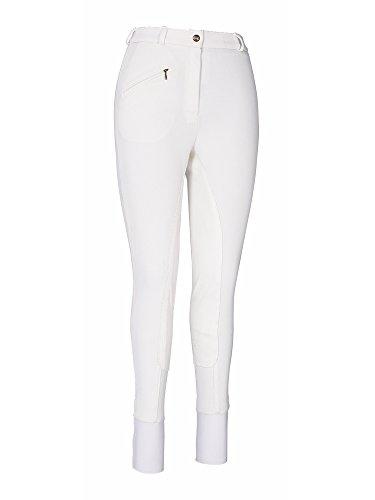 TuffRider Women's Ribb Lowrise Full Seat Breeches (Regular), White, - Seat Zip Full Breech