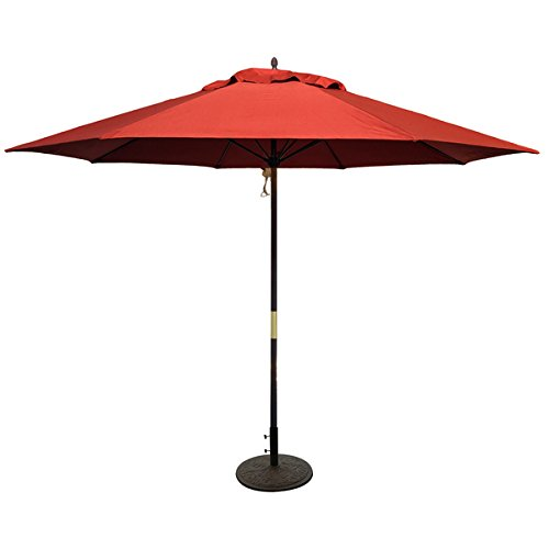 - TropiShade Dark Wood 11 foot Market Umbrella with Brick Red Canopy, Durable Wood Material, Pineapple Finial, Four Pulley System, 8 Ribbed Canopy