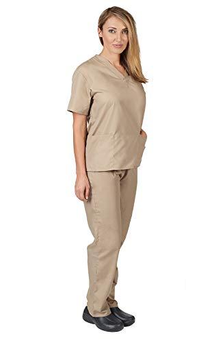 NATURAL UNIFORMS Women's Scrub Set Medical Scrub Top and Pants (XS, KHAKI)