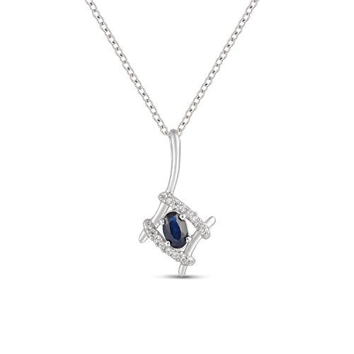 Jewel Ivy 925 Sterling Silver Pendant with Sapphire and Chain by Jewel Ivy