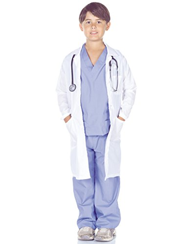 Doctor And Patient Halloween Costume (Underwraps Children's Doctor Scrubs with Lab Coat Costume Set, Blue/White, Small)