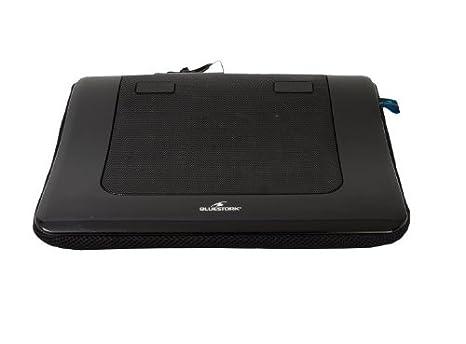 BlueStork BLU_NB_COOLER/LAP - Soporte para portátil (con ventilador y cojín integrado), color negro