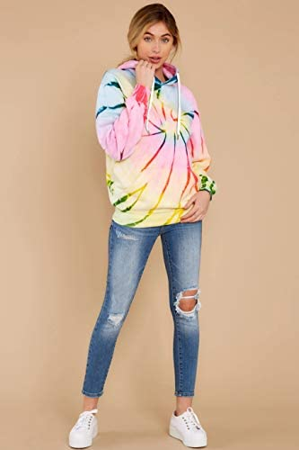 LANYU Women's Tie Dye Hoodies Sweatshirt Autumn Winter Long Sleeve Pullover Tops Fashion Streetwear