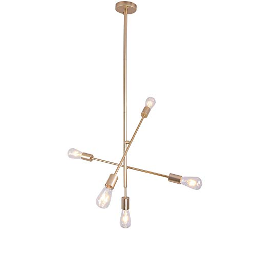Sputnik Chandelier Light, Hhome Plus 5 Lights Modern Pendant Light Gold Ceiling Light Fixture,Perfect Chandelier for Dining Room, Kitchen, Living Room, Restaurant, Bar