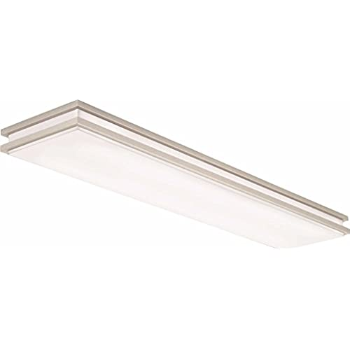 lithonia lighting brushed nickel 4 ft led flush mount 4000k 355w 2560 lumens - Led Kitchen Light Fixtures