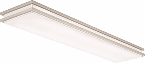 Led Kitchen Lights (Lithonia Lighting Brushed Nickel 4-Ft LED Flush Mount, 4000K, 35.5W, 2,560 Lumens)