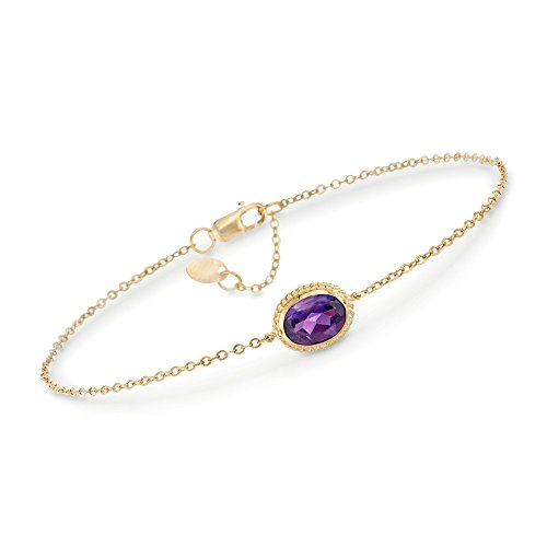 (Ross-Simons 1.10 Carat Amethyst Bracelet in 14kt Yellow Gold)