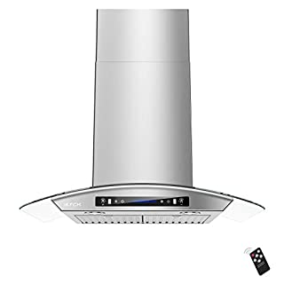 IKTCH 30-inch Wall Mount Range Hood Tempered Glass 900 CFM, Kitchen Chimney Vent Stainless Steel with Gesture Sensing & Touch Control Switch Panel, 2 Pcs Adjustable Lights