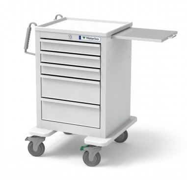 MSEC by Waterloo, QUICK SHIP PROGRAM, 5 Drawer Slim Mini Economy Cart with Key Lock , Steel, Gray