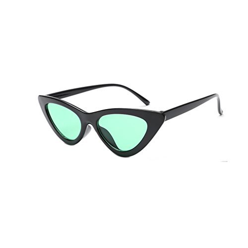 (Women Colorful Retro Vintage Narrow Cat Eye Sunglasses for Women Clout Goggles Plastic Frame (Black Green))