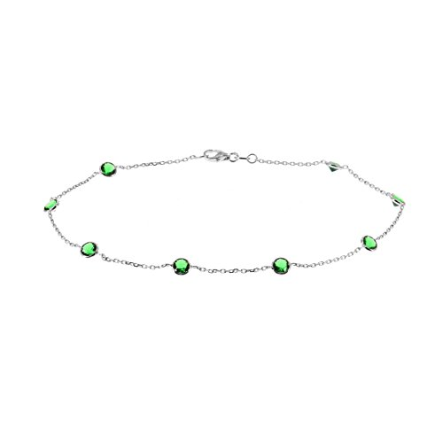 14k White Gold Ankle Bracelet With Green Cubic Zirconia By (9 - 11 inches) by amazinite