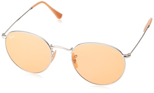 Ray-Ban RB3447 Evolve Round Metal Sunglasses, Silver/Orange Photochromic, 53 mm (Ray-ban Photochromic)