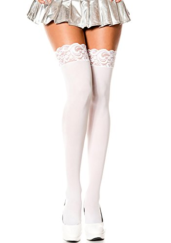 Top Opaque Lace (ThreeH 2 Pairs Thigh-High Stockings Sexy Lace Top Socks Opaque Nylon Tights C468White)