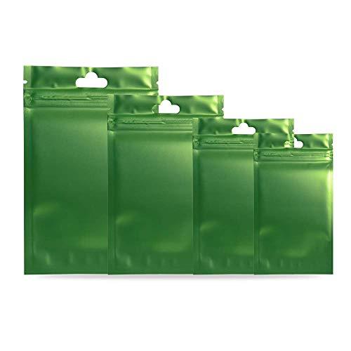 100x Metallic Foil Mylar Zip Lock Bags Hang Hole Clear Front Matte Zipper Pouches, Back Colored Aluminum Foil Bags For Food Saver Herb (Matte Translucent Green, 10x18cm (4x7