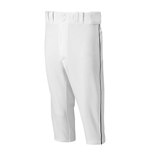 Mizuno Adult Men's Premier Piped Short Baseball Pant, White-Black, Small
