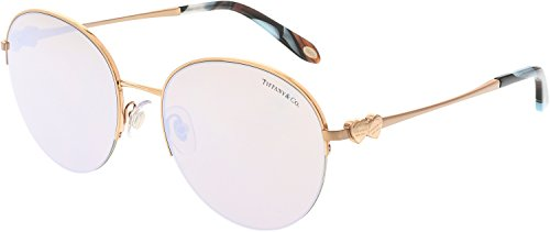 Tiffany and Co. Round Sunglasses TF3053 610964 Bronze/Copper Frame with Brown Mirror White - Glasses Tiffany Rimless