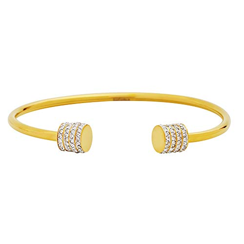 Edforce Stainless Steel Women's Stackable CZ Small Elastic Cuff Bangle Bracelet (Inner Dia: 60mm) (18K Gold Plated)