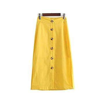 QYYDBSQ Mujer Elegante Botón Falda Amarilla Decorar Side Split ...