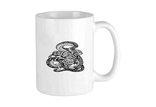 Tattoo Style Scene of Two Animals Struggling Long Snake with Sublime Large Cat Funny Coffee Mug Cool Coffee Tea Cup 12 Ounces Perfect Gift for Family and Friend