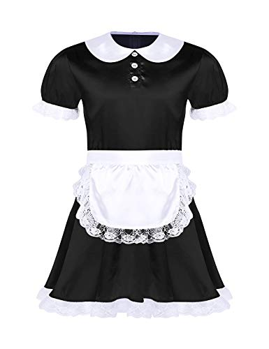 ACSUSS Men's Sissy French Maid Satin Frilly Crossdrssing Dress Costume Apron Set Black X-Large