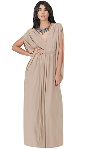 KOH-KOH-Plus-Size-Womens-Long-V-Neck-Summer-Grecian-Greek-Bridesmaid-Wedding-Party-Guest-Flowy-Formal-Evening-Slimming-Vintage-Maternity-Gown-Gowns-Maxi-Dress-Dresses-Tan-Light-Brown-XL-14-16
